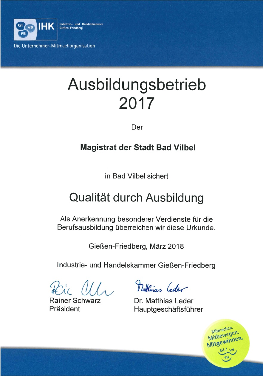 Stadt Bad Vilbel erhält erneut Auszeichnung der IHK Gießen-Friedberg